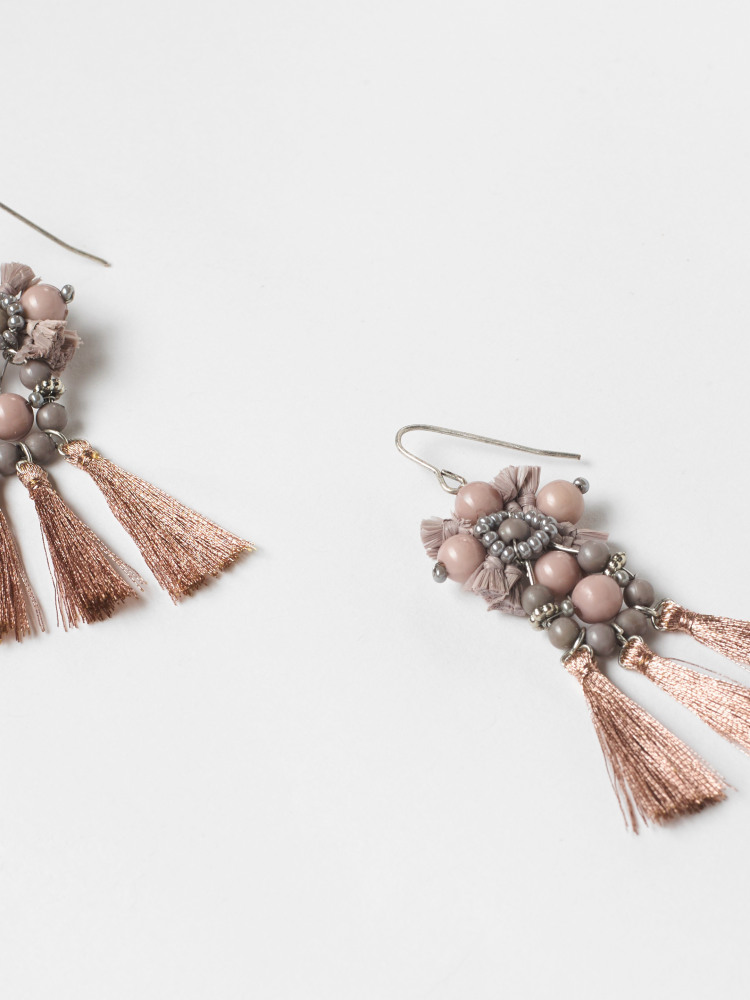 Bead & Tassel Ornate Earring