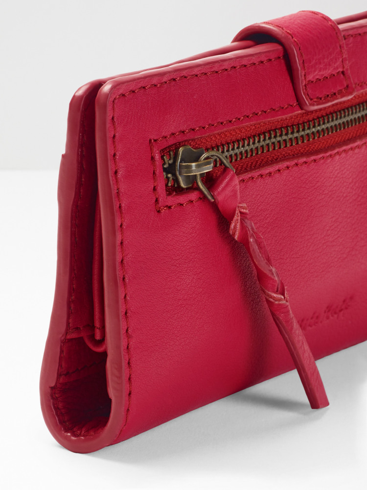Rose Leather Flapover Purse