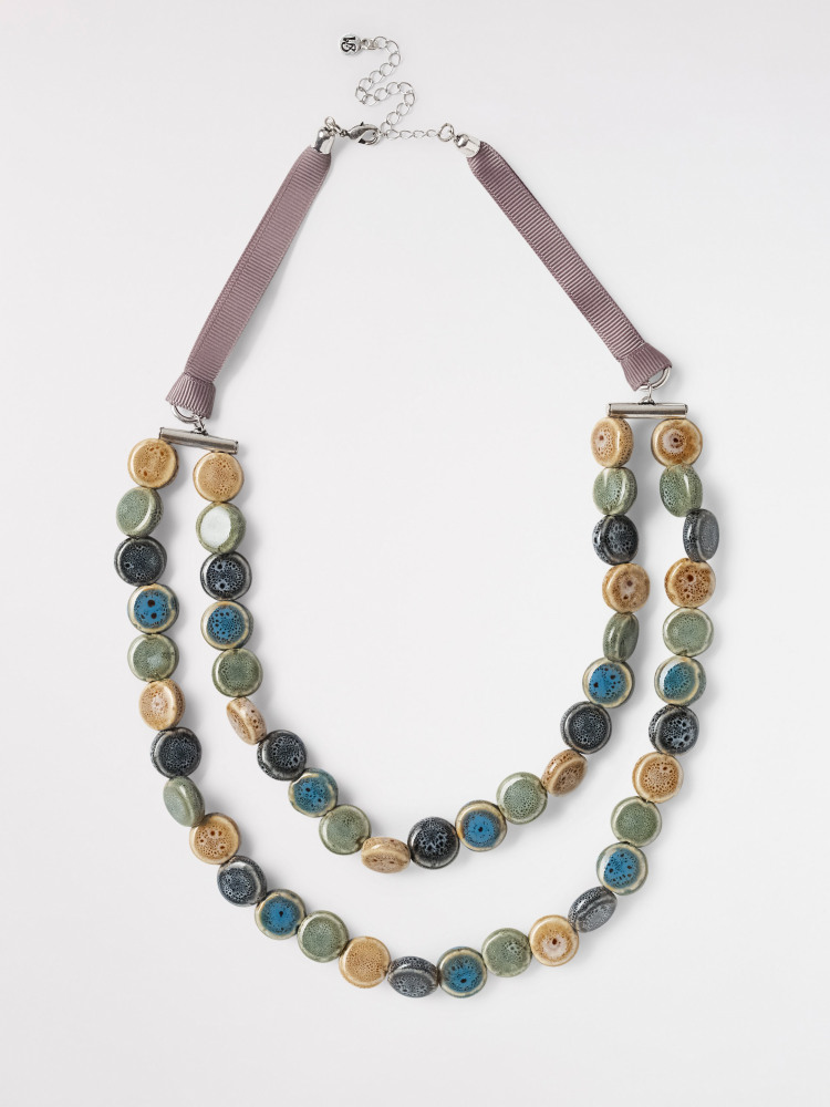 Layered Ceramic Bead Necklace