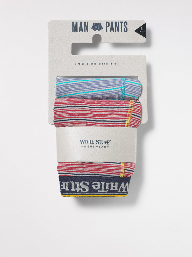 Multi Fine Stripe Boxer 2 Pack