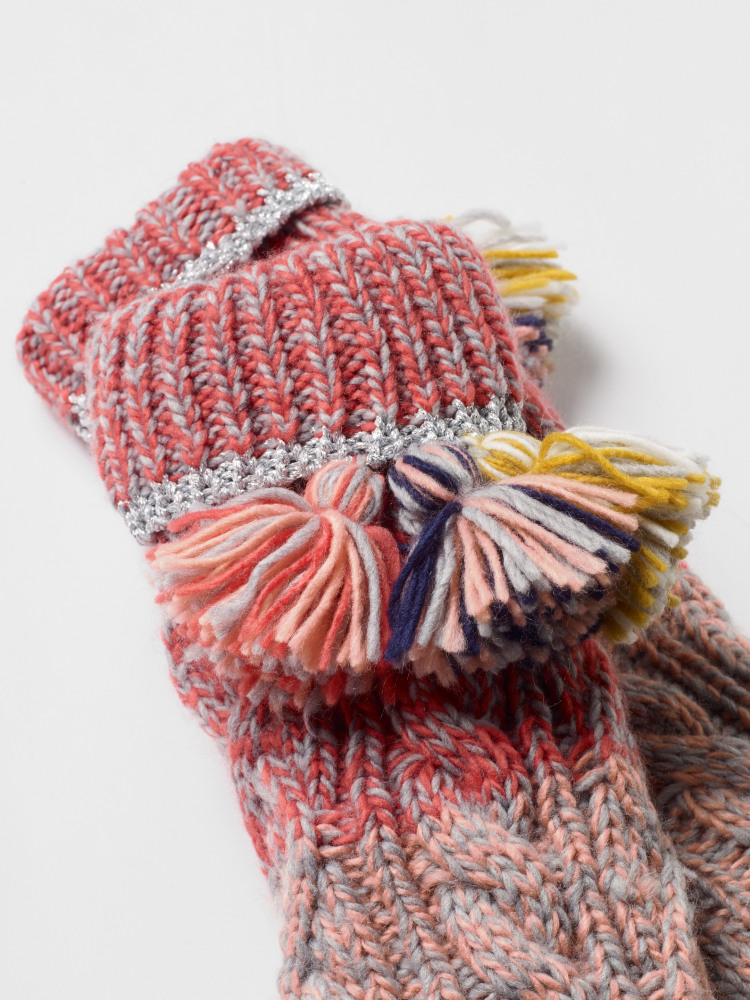 Cable Colourblock Slipper Sock