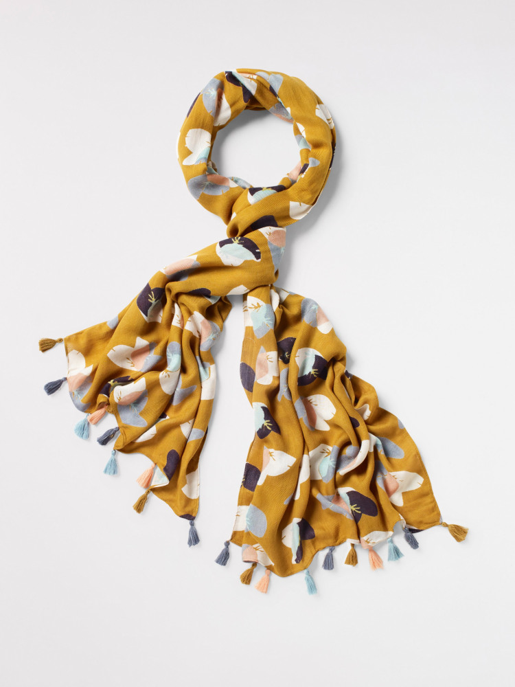 Abstract Ginko Floral Scarf