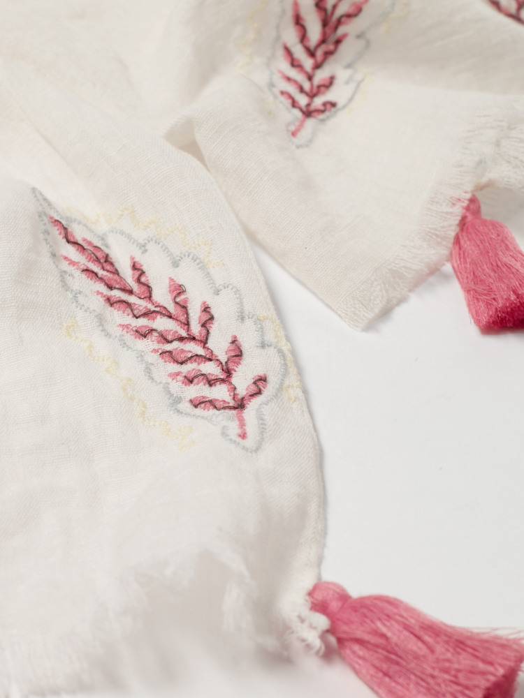 Embroidered Leaf Scarf