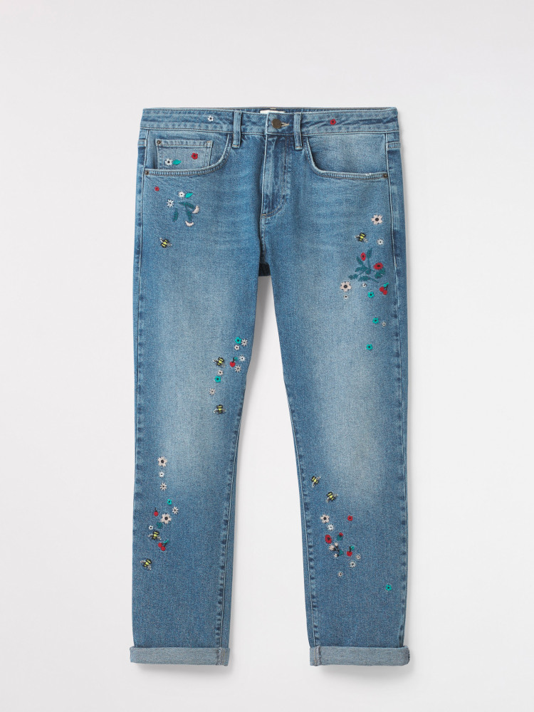 Embroidered Boyfriend Jean