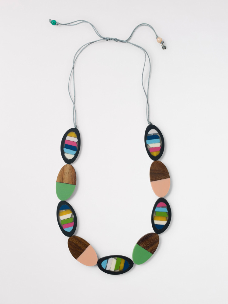 Palm Resin & Wood Necklace