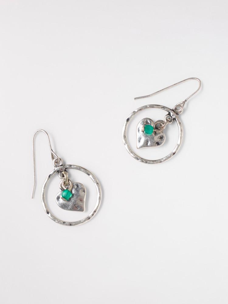 Heart Cluster Hoop Earring