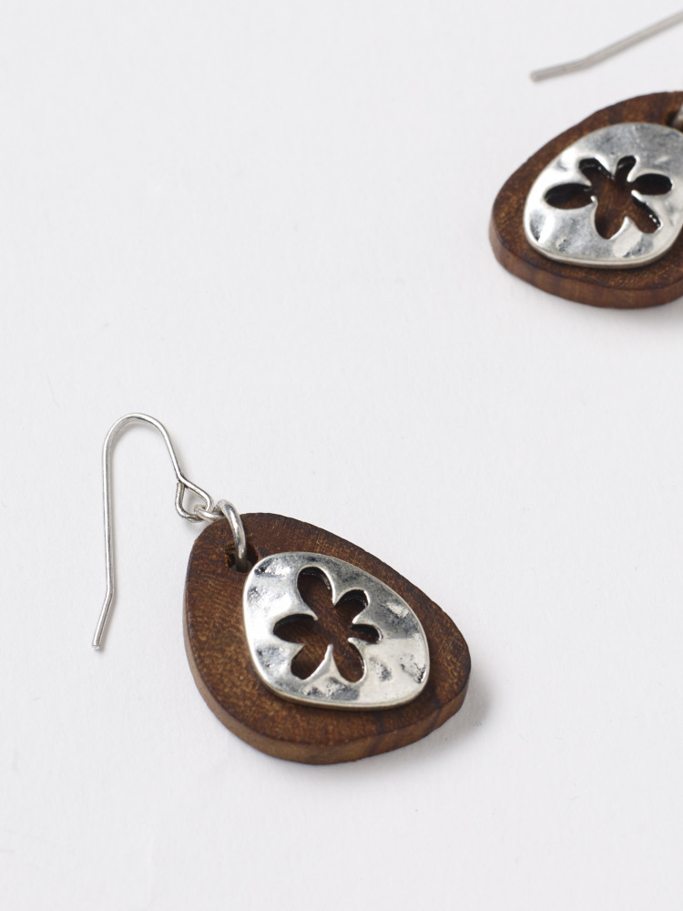 Wood & Metal Drop Earring