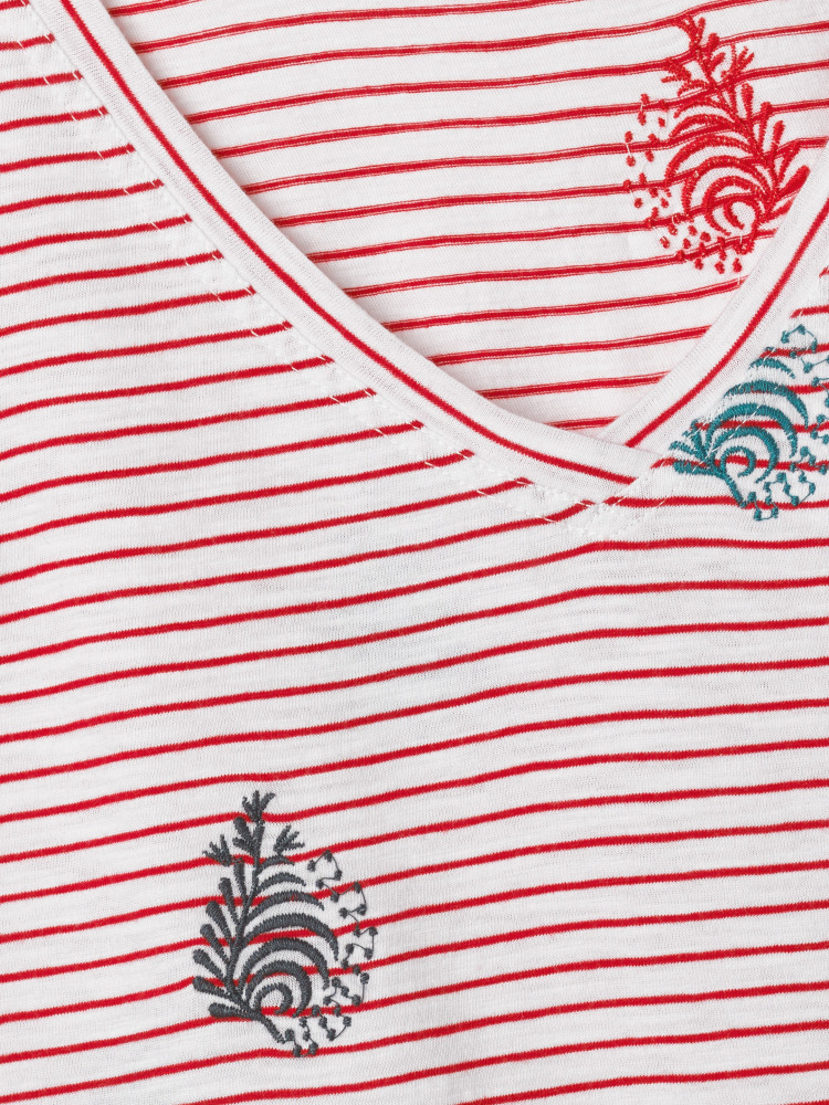 Fun Stripe Embroidered Tee
