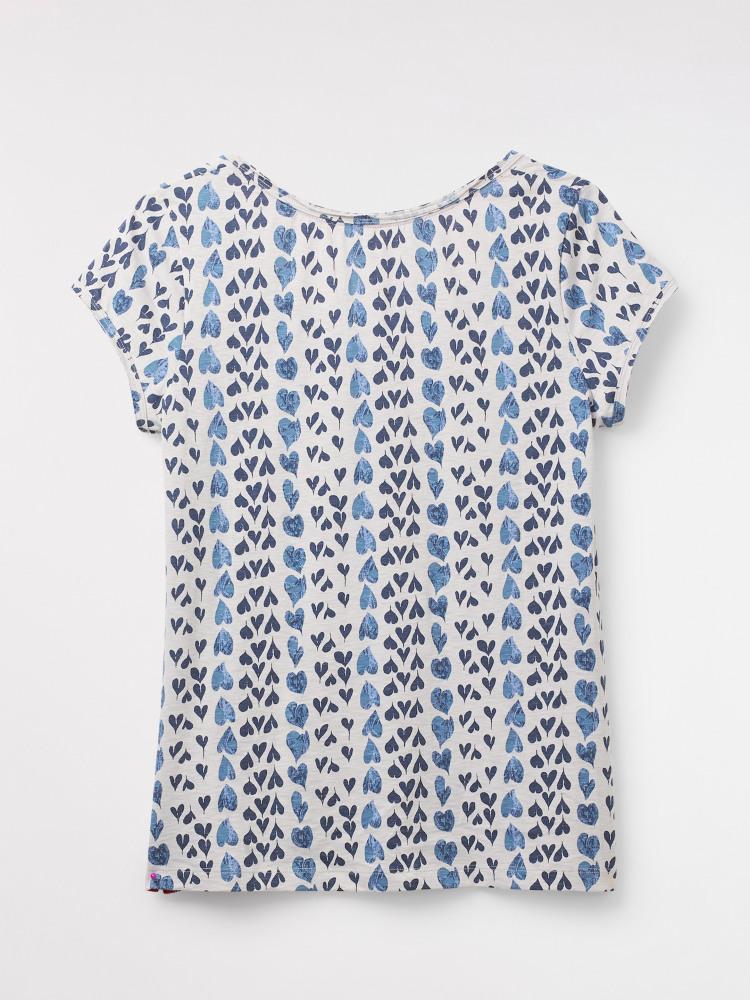 9d4a9ff7 Bloom Fairtrade Jersey Tee (Stone Blue Print) | White Stuff