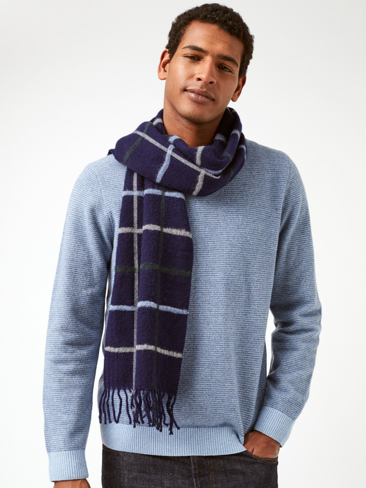 James Check Wool Knit Scarf