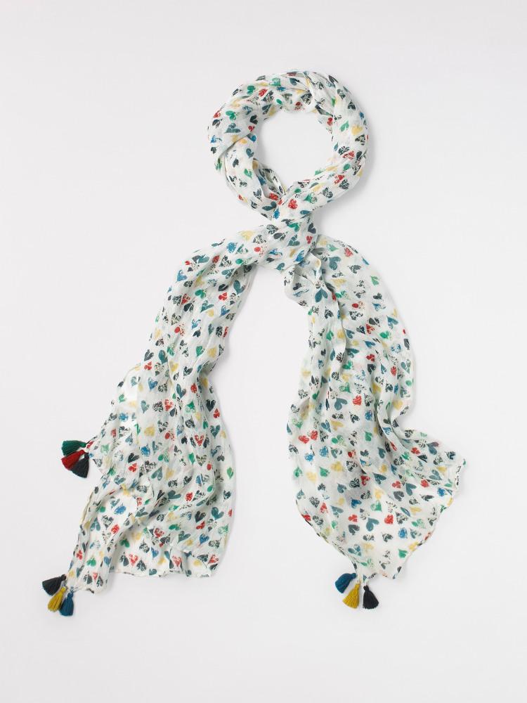 NEW Beautiful WHITE STUFF Bright Marble Hearts Soft Viscose Scarf Shawl £22.50