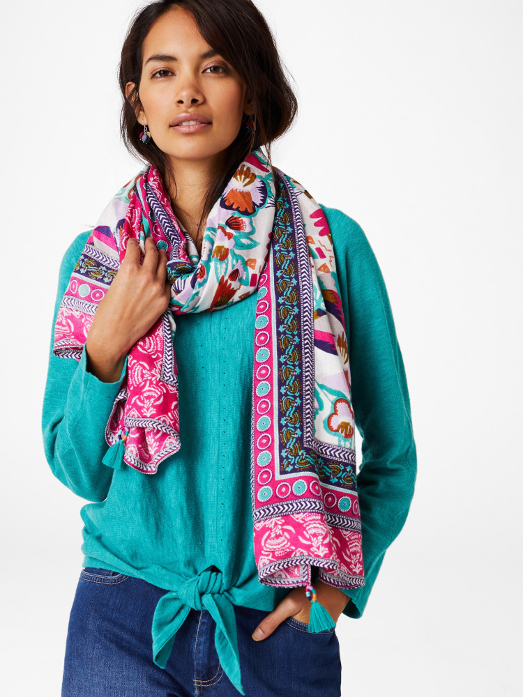 Claudia Printed Crepe Scarf by White Stuff