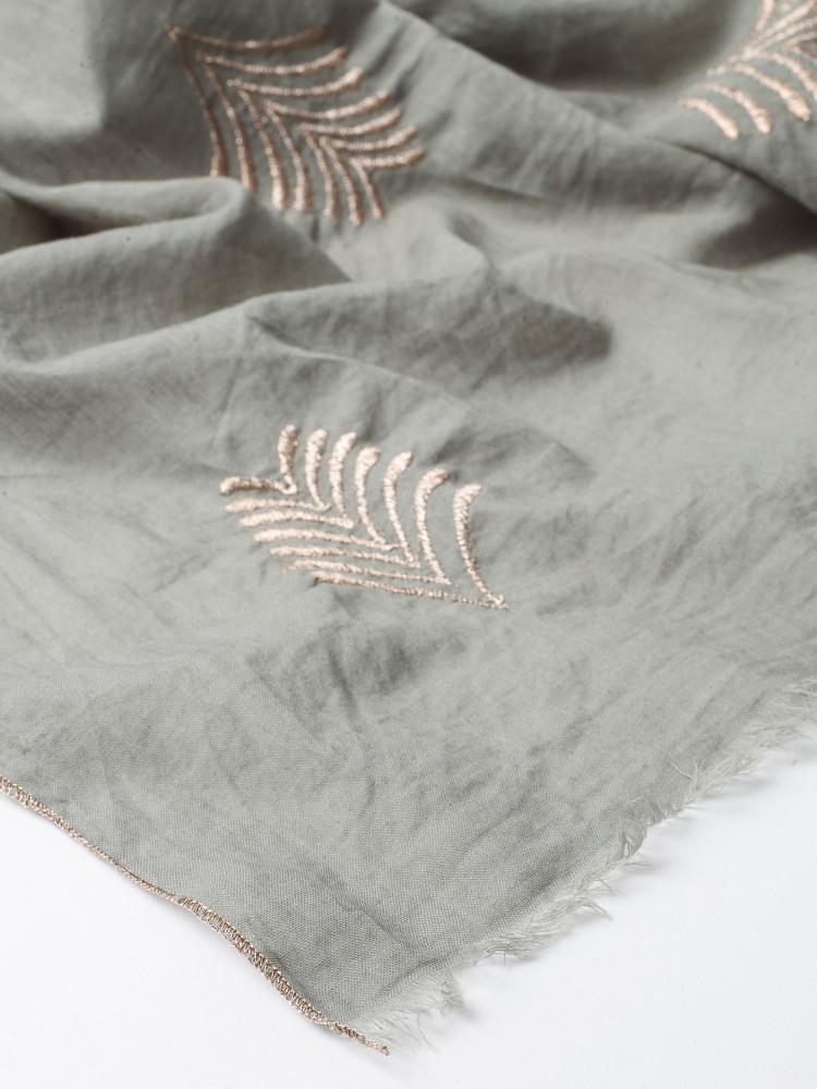 Leaf Embroidered Metallic Scar