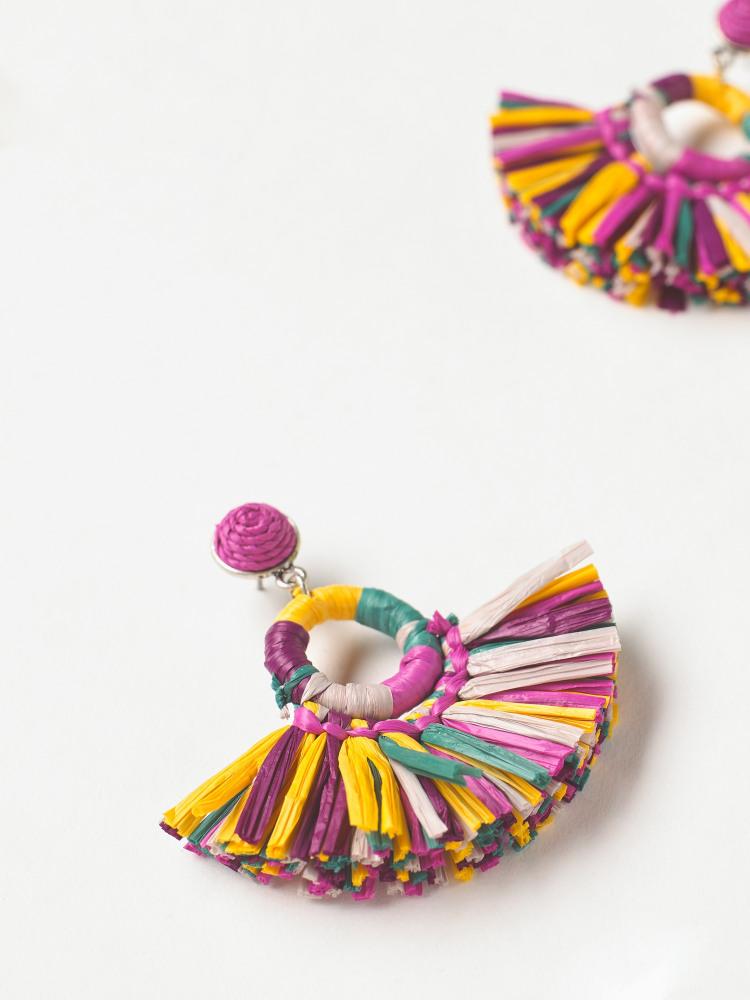 Multi Raffia Earring