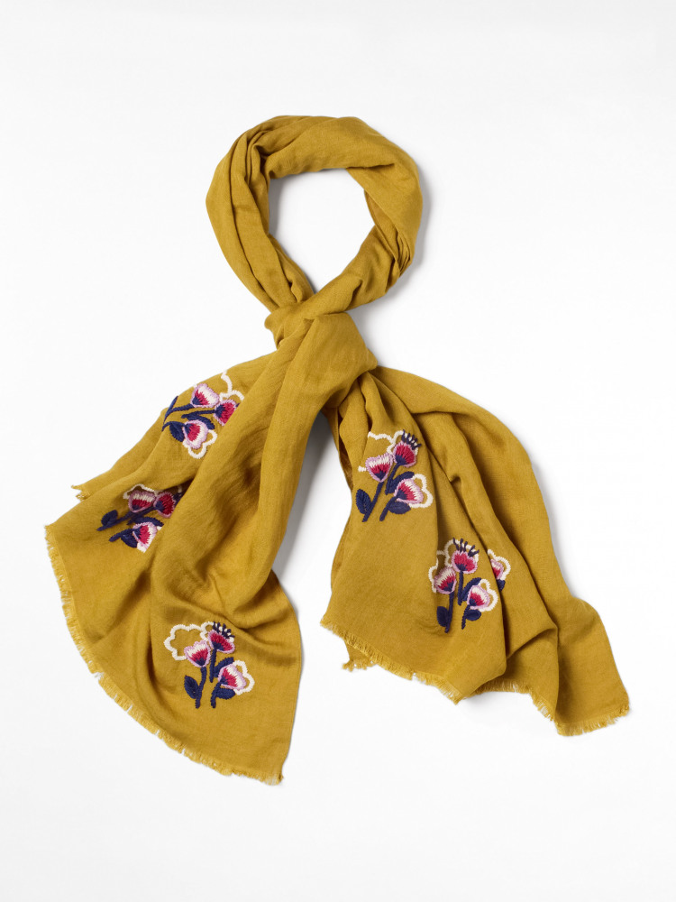Frida Floral Embroidered Scarf