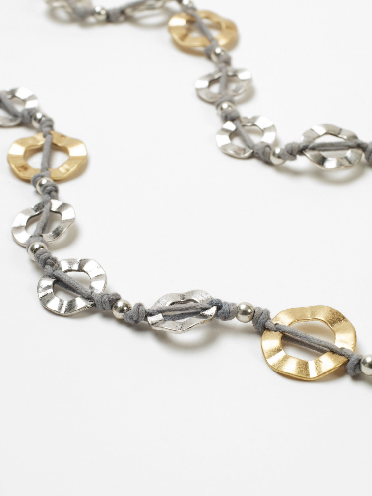 Waved Mixed Metal Necklace