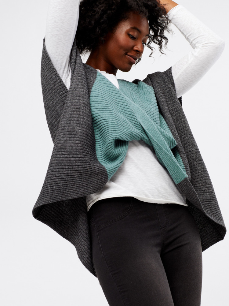 Colour Block Twist Poncho