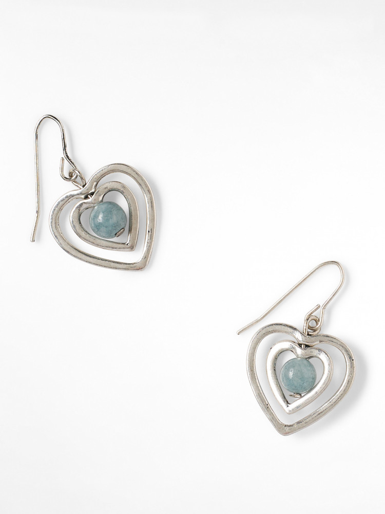Ripple Heart Drop Earring
