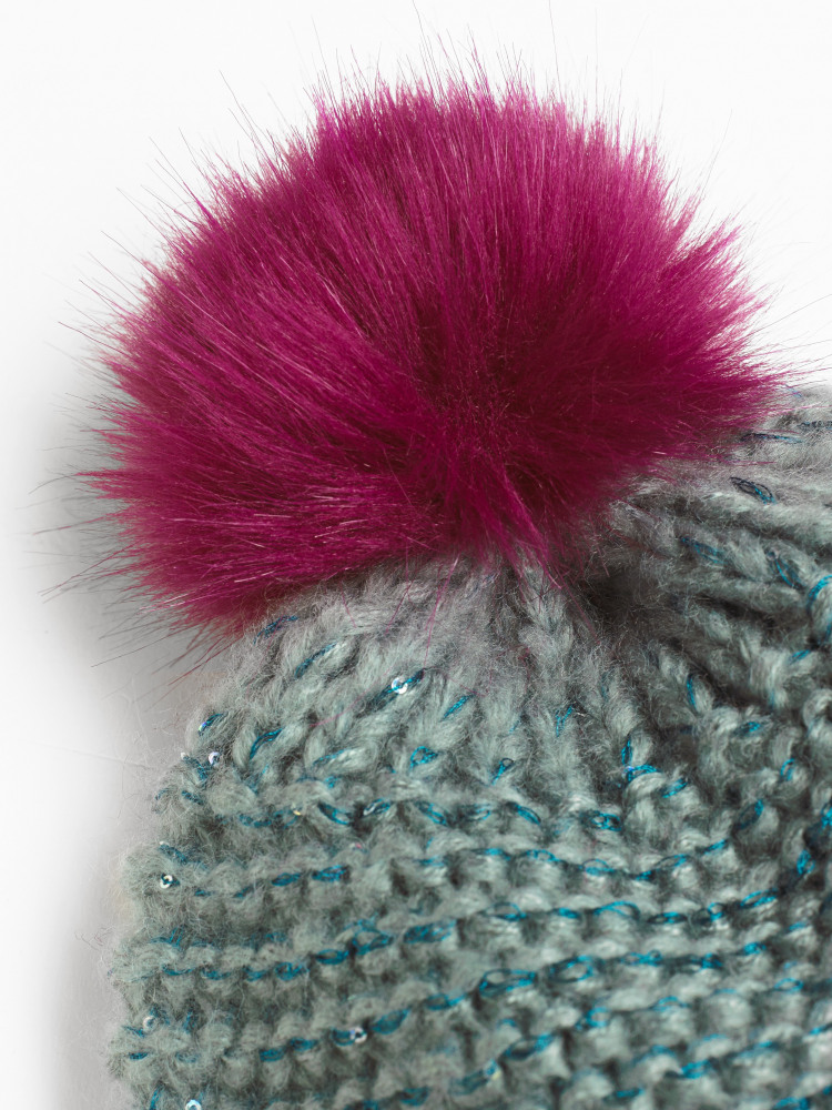 Kids Fluffy Sequin Pom Hat