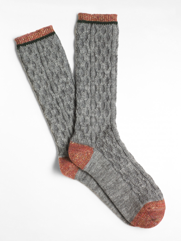 Sparkle Cable Detail Boot Sock