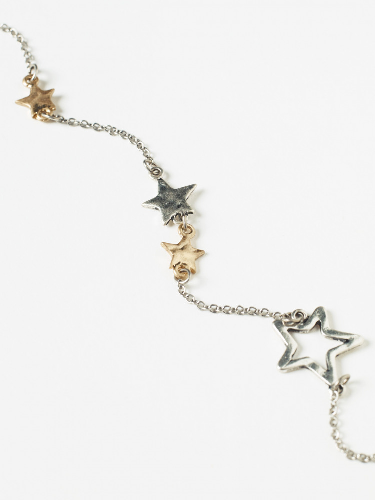 Stationed Star Metal Necklace
