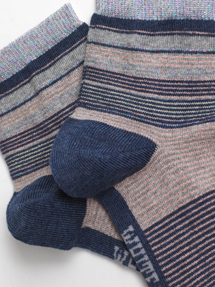 Fine Stripe Sparkle Ankle Sock