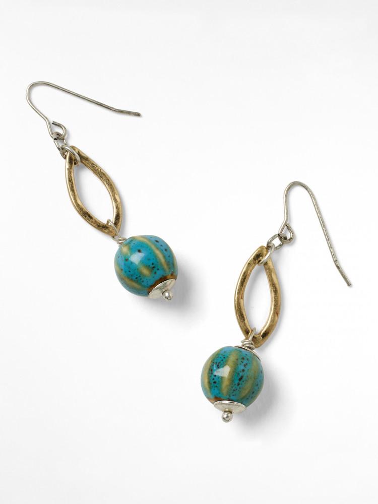 Metal & Ceramic Drop Earring
