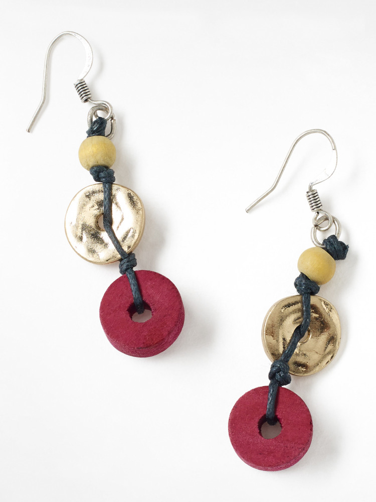 Wooden & Metal Disc Earrings