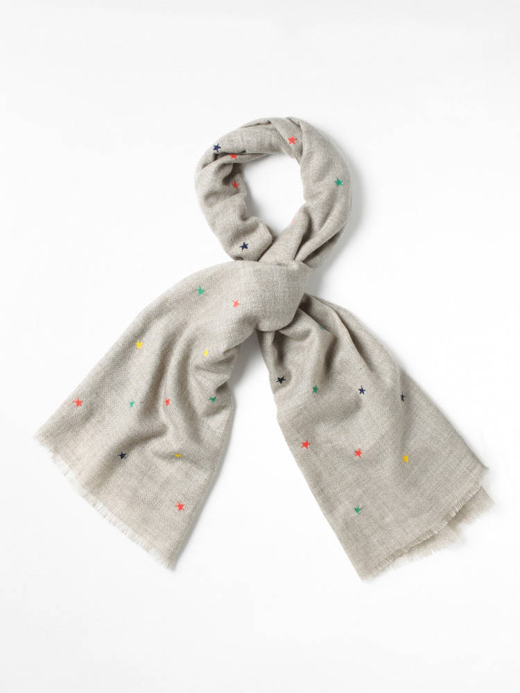 Star Embroidered Midweight Scarf