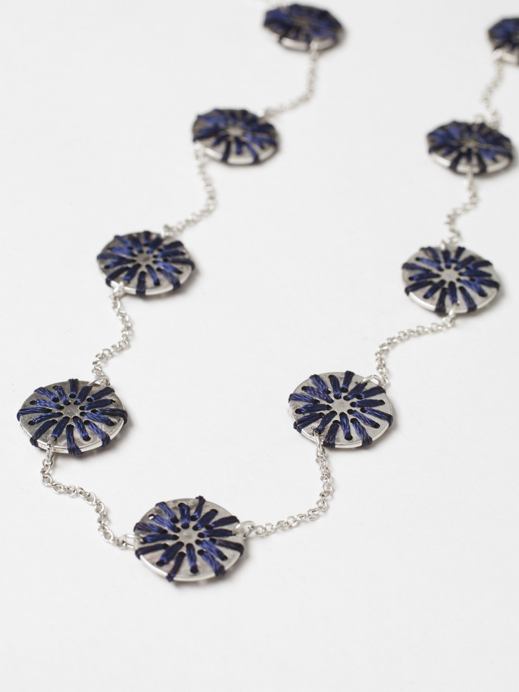 Threaded Disc Metal Necklace