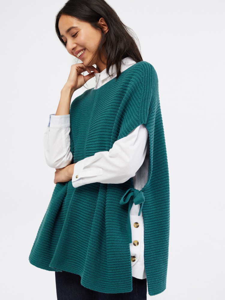 Ribbed Tie Side Poncho