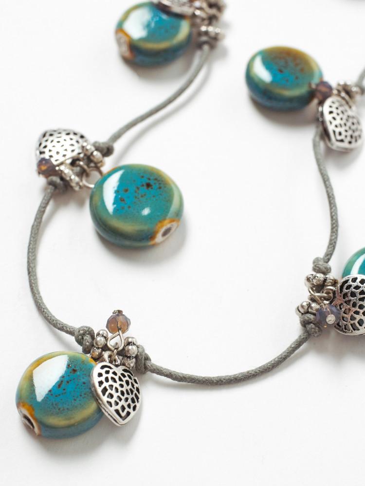 Ceramic & Heart Necklace
