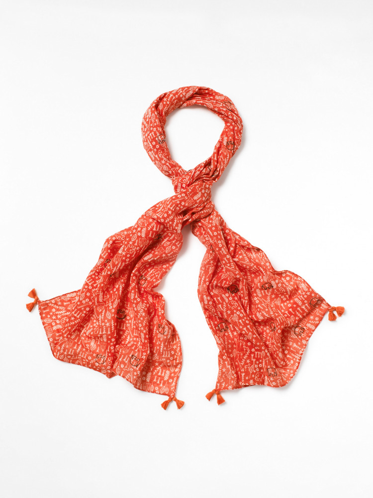 Luna Cotton Linen Embroidered Scarf