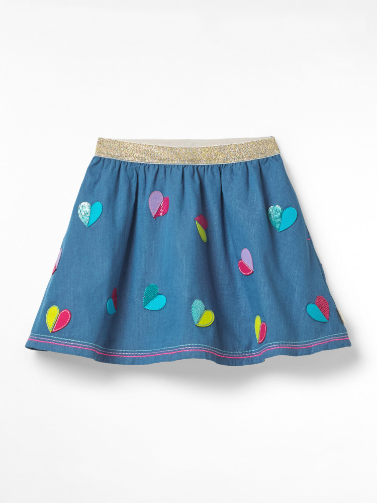 Chambray Sequin Heart Skirt