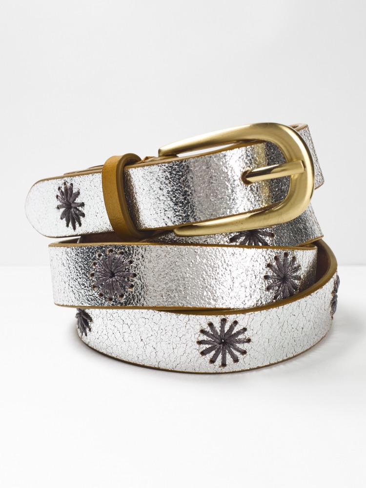 Metallic Flower Embroidered Belt