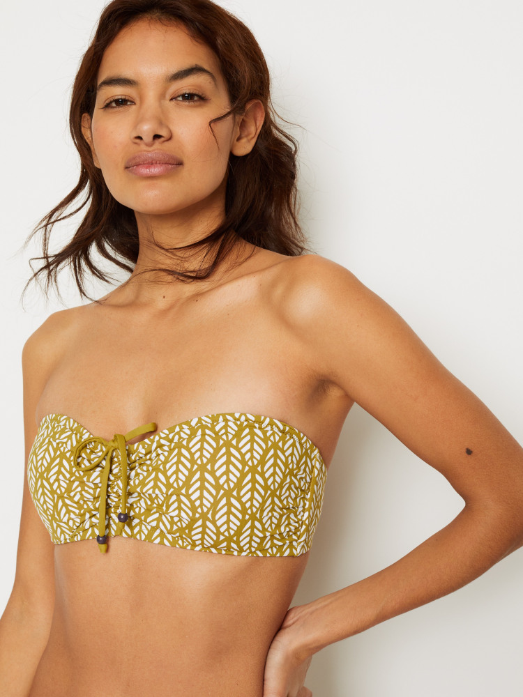 Summer Leaf Drawstring Bikini Top