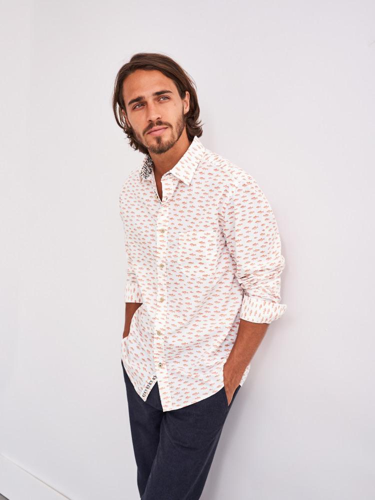 River Fish Print Shirt