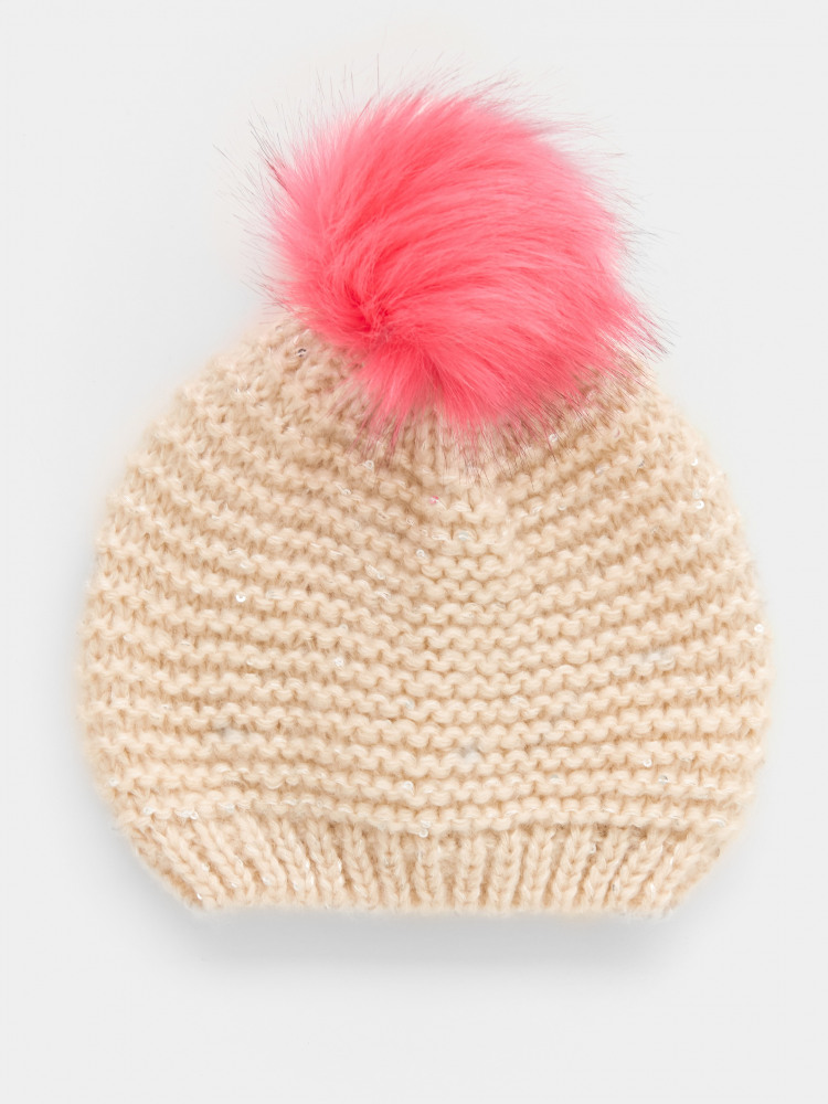 Fluffy Sequin Pom Hat