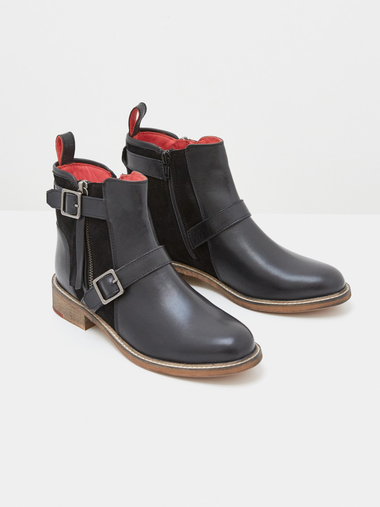 Brit Buckle Leather Ankle Boot