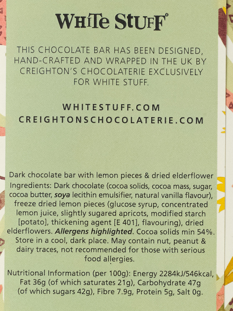 Elderflower Fizz Chocolate Bar