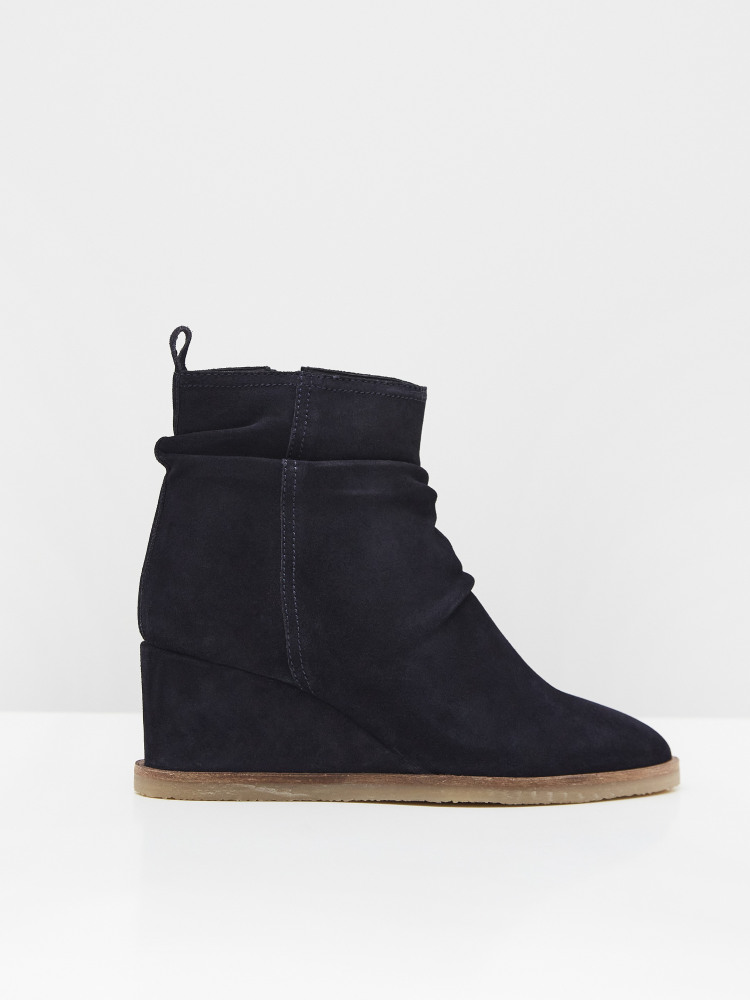 Ruched Wedge Ankle Boot