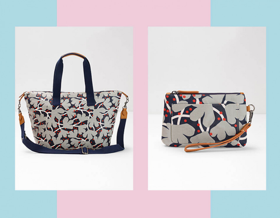 Jessica Nielsen print bag and clutch
