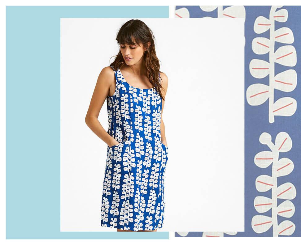 Elsa blue linen dress