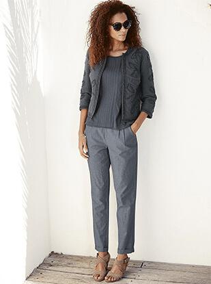 women grey cotton jacket, top, pants